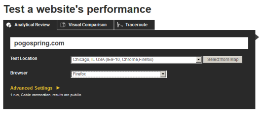 WebpageTest Settings for WPEngine performance test